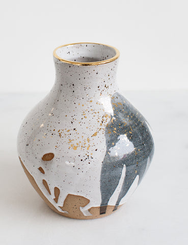 Stoneware Vessel in White, Charcoal, and Gold