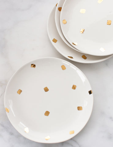 Made to Order: Dinner Plates in White with Gold Confetti Brushstrokes (Set of Four)