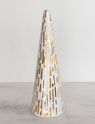 Faceted Christmas Tree in White with Gold Brushstrokes