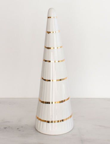Faceted Christmas Tree in White with Gold 'String Lights'