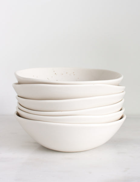 Bijou Bowl in White with Gold Splatters