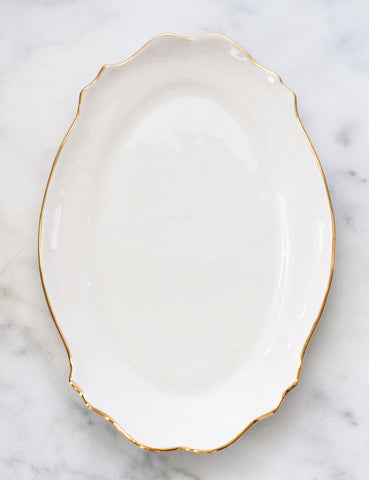 Limited Edition: Baroque Platter in White with Gold Rim
