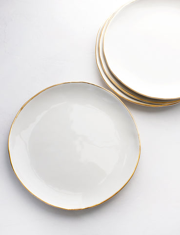 Pre-Order: Dinner Plates in White with Gold Rim (Set of Four)