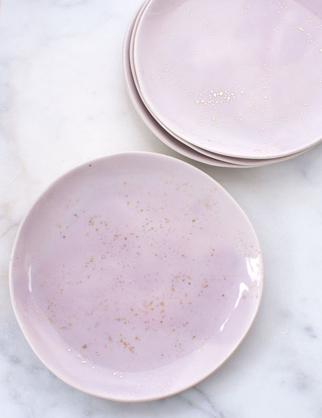Limited Edition: Dinner Plates in Wisteria and Gold Splatters (Set of Four)