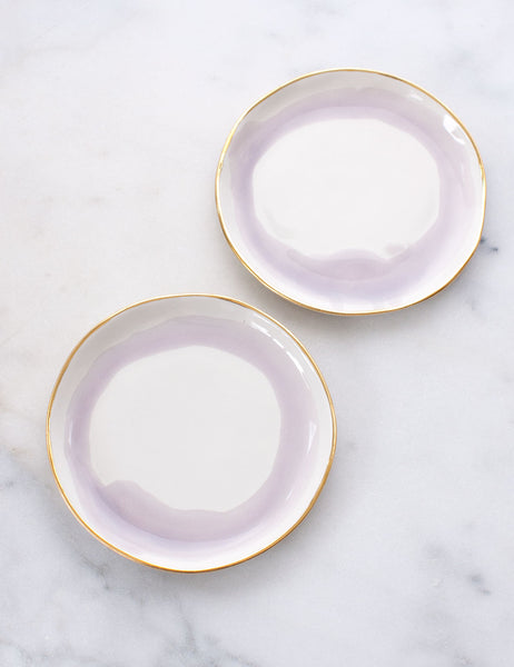 Limited Edition: Dessert Plates in Watercolor Wisteria Swirl with Gold Rim (Set of Two)