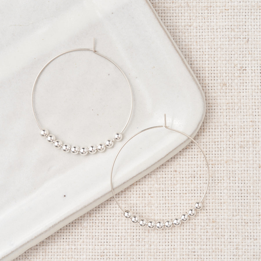 Shiny Bead Hoops - Sterling Silver