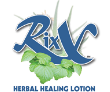 blue Rixx lotion logo with green leaves