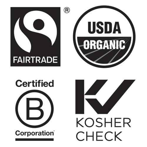 white background with black symbols for fair trade, usda organic, certified B corporations and Kosher check