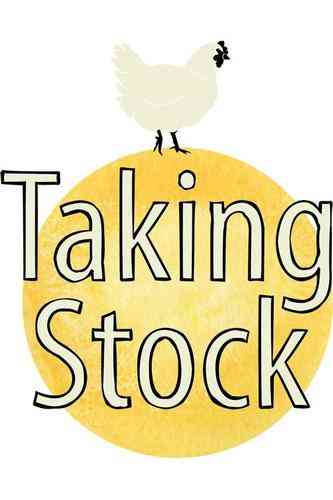 Taking Stock logo white chicken on yellow ball