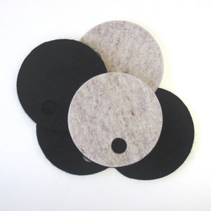 Villa wool felt coasters in natural melange and black