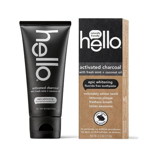 Hello Activated Charcoal with Fresh Mint + Coconut Oil Whitening Toothpaste 4 oz