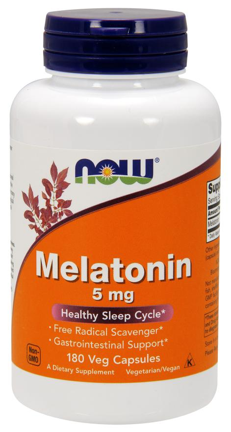 NOW Melatonin 5 mg Healthy Sleep Cycle (180 Veg Capsules)