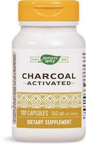 Natures Way Charcoal Activated 100 Capsules 560 mg Per Serving Dietary Supplement