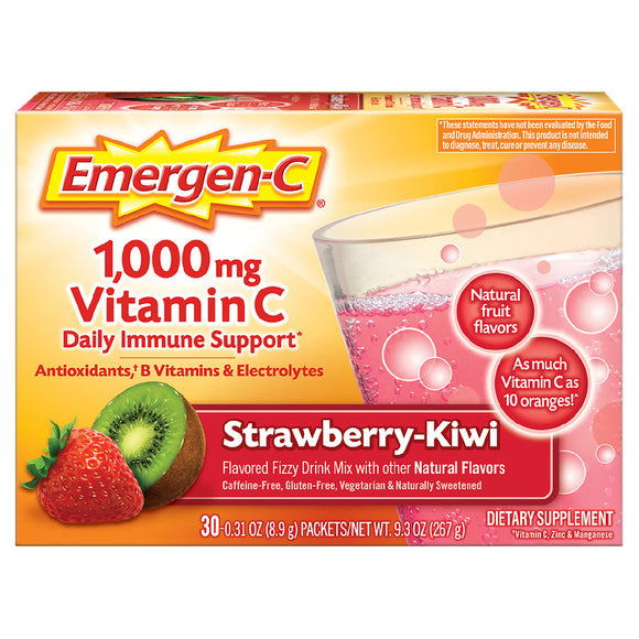 Emergen-C 1000mg Vitamin C Powder (30 Count, Strawberry Kiwi Flavor) With Antioxidants, B Vitamins And Electrolytes, Dietary Supplement Fizzy Drink Mix, Caffeine Free