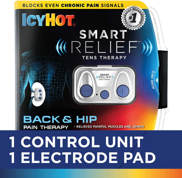 Icy Hot Smart Relief TENS Therapy for Back and Hip 9TENS Unit, Battery, Reusable Electrode Pad)