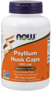 NOW Supplements, Psyllium Husk Caps 500 mg, Non-GMO Project Verified, Natural Soluble Fiber, Intestinal Health, 200 Veg Capsules