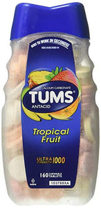 TUMS Antacid Tropical Fruit Ultra Strength 1000 (160 Chewables Tablets)