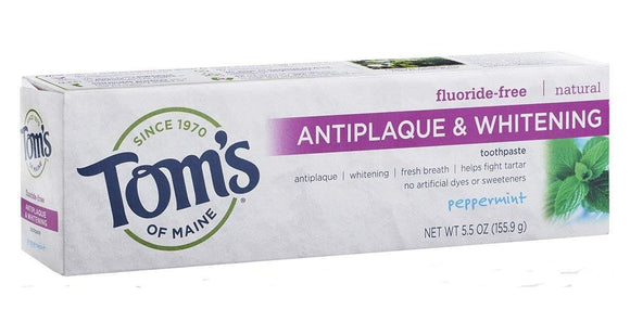 Toms of Maine Antiplaque and Whitening Fluoride-Free Toothpaste Peppermint 5.5 oz