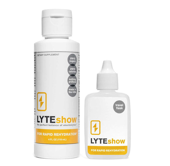 LyteShow Electrolyte Concentrate for Rapid Rehydration (1 Bottle + 1 Travel Flask)