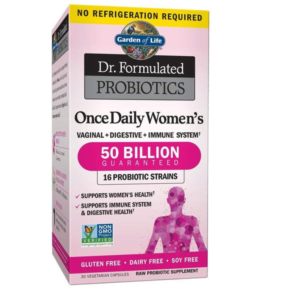 Garden of Life Dr.Formulated Probiotics Once Daily Womens Vaginal + Digestive + Immune System 50 Billion (30 Veg. Capsules)