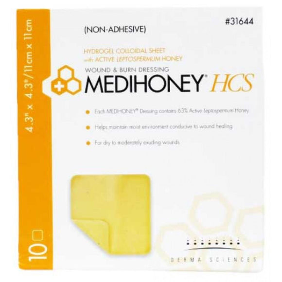 Derma Sciences Medihoney HCS Non Adhesive Hydrogel Colloidal 10 Sheet (31644)