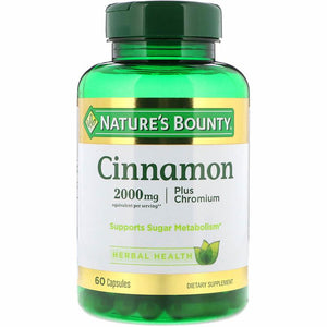 Nature's Bounty Cinnamon 2000 mg Plus Chromium, Support Sugar Metabolism 60 Capsules