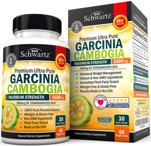 Bio Schwartz Premium Ultra Pure Garcinia Cambogia Maximum Strength 1600mg (60 Veggie Caps)