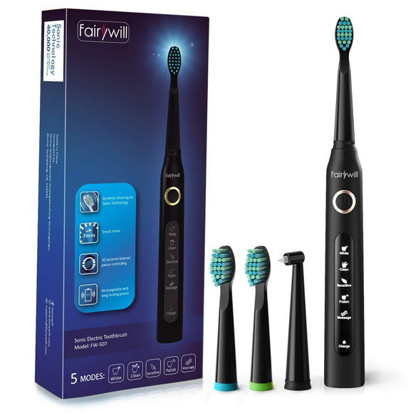 Electric Toothbrush Clean as Dentist Rechargeable Sonic Toothbrush with Smart Timer