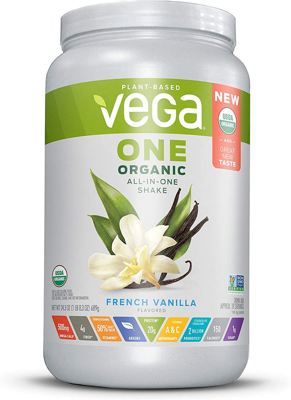 Vega Organic All-In-One Shake (1 lb) Plant Based Vegan Powder French Vanilla, Packaging may Vary
