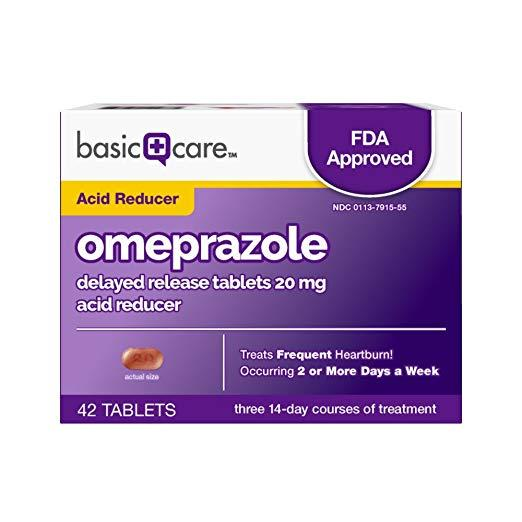 Basic Care Omeprazole Delayed Release Tablets 20 mg, Acid Reducer (42 tablets)