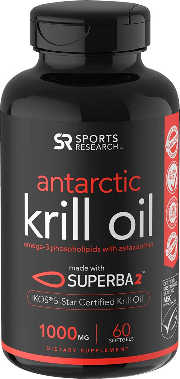 Sports Research Antarctic Krill Oil (Double Strength) with Omega-3s EPA, DHA and Astaxanthin (60 Softgels) 1000mg
