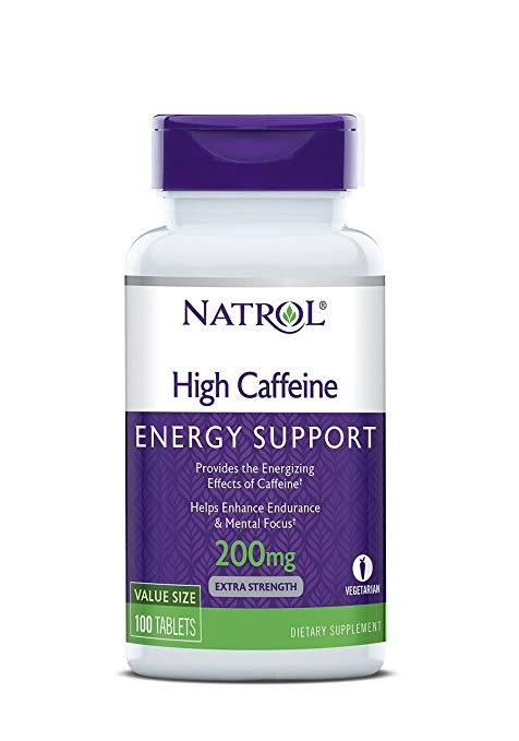 Natrol High Caffeine, Energy Support 200 mg (100 tablets)