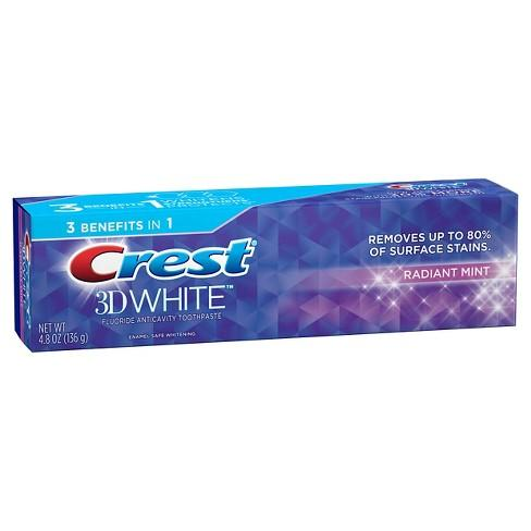 Crest 3D White Toothpaste Radiant Mint (4.8 oz / 136 g)