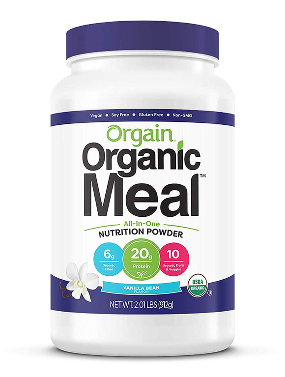 Orgain Organic Plant Based Meal Replacement Powder, Vanilla Bean 2.01 LB