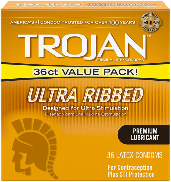 Trojan Ultra Ribbed Lubricated Condoms, 36 ct