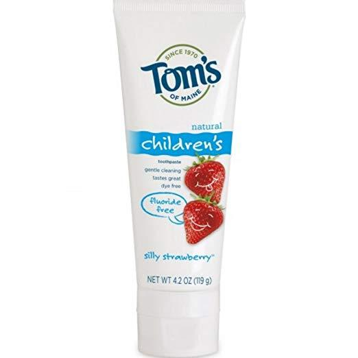 Tom's of Maine Natural Children's Fluoride Free Toothpaste, Silly Strawberry 4.20 oz