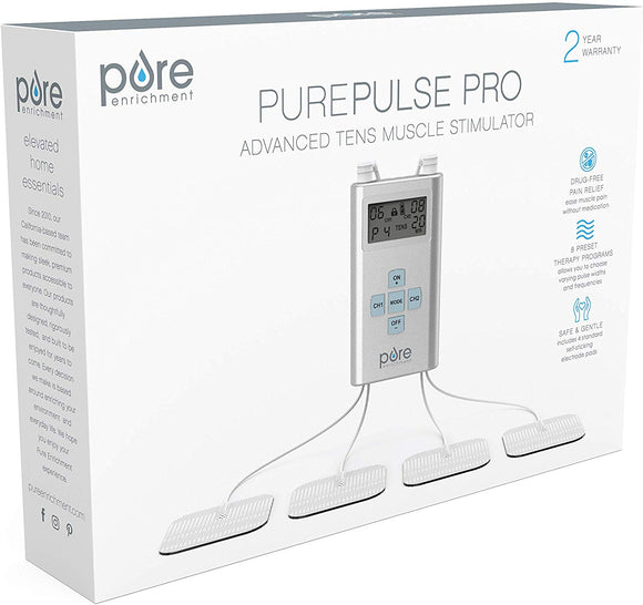 Pure Enrichment PurePulse Pro Advanced TENS Unit with LCD Display, 8 Therapy Programs, 25 Pulse Settings, Adjustable Timer and 2 Channels - Includes 3 AAA Batteries, 4 Electrode Pads and Storage Bag