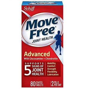 Original/Authentic Schiff Move Free Join Health, Advanced with Glucosamine + Chondroitin (80 Coated Tablets)
