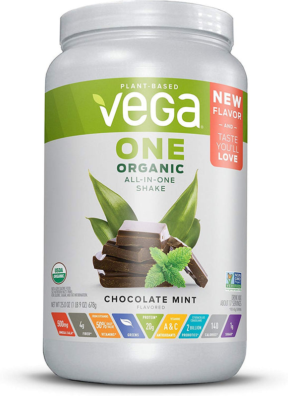 Vega Organic All-In-One Shake (1 lb) Plant Based Vegan Powder, Chocolate Mint