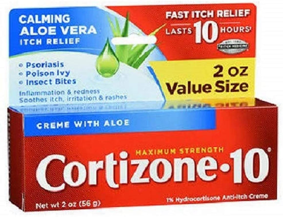Cortizone-10 Maximum Strength Itch Relief Creme with Aloe, 2 oz. / 56g