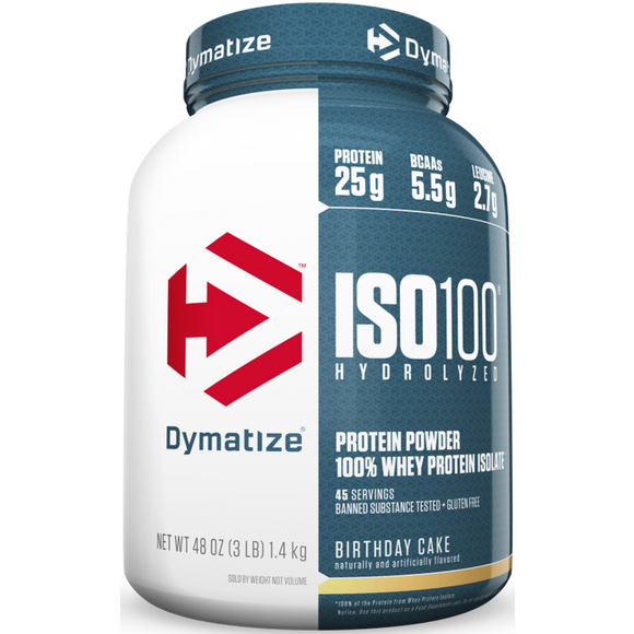 Dymatize Nutrition ISO 100, Whey Protein Powder, Birthday Cake, 3 LB