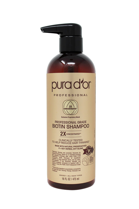 PURA D'OR Professional Grade Shampoo, 16 oz (473 mL) Packaging may vary