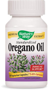Natures Way Standardized Oregano Oil 75-85% Carvacrol (60 Vegetarian Capsules)