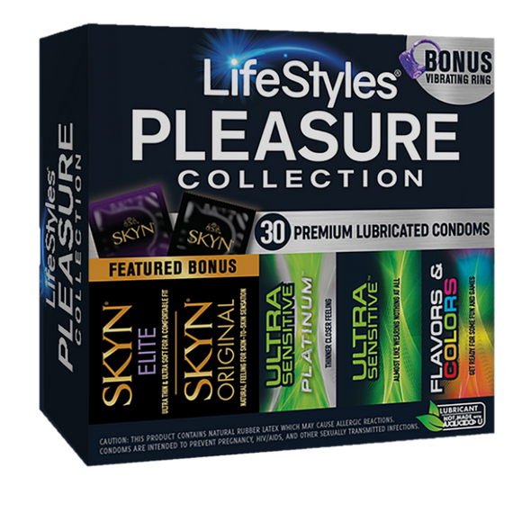 LifeStyles Pleasure Collection (30 Premium Lubricated Condoms) with Bonus Vibrating Ring
