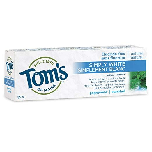 Tom's of Maine Simply White Fluoride-Free Peppermint Toothpaste 85 ml