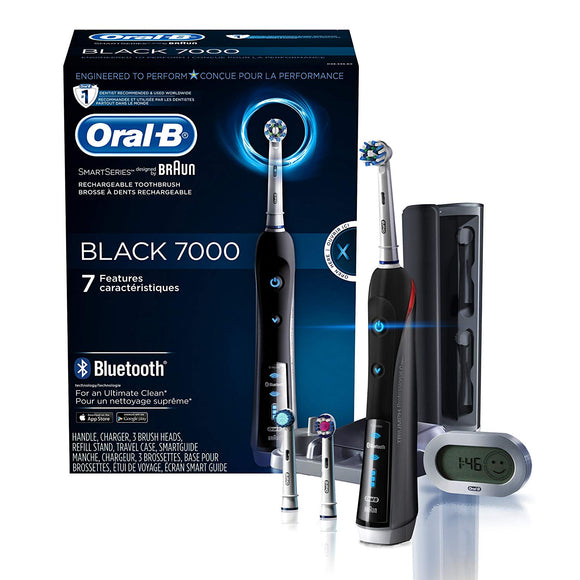 Oral-B Black 7000 SmartSeries Rechargeable Power Electric Toothbrush with 3 Replacement Brush Heads, Bluetooth Connectivity and Travel Case