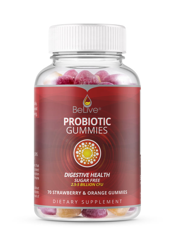 BeLive Probiotic for Kids & Adults Digestive Health, Sugar-free (70 Strawberry & Orange Gummies)