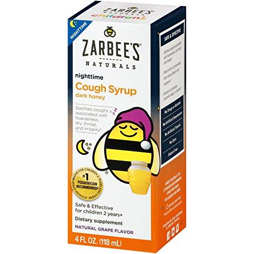 Zarbee's Naturals Children's Cough Syrup with Dark Honey Nighttime, Natural Grape Flavor, 4 oz