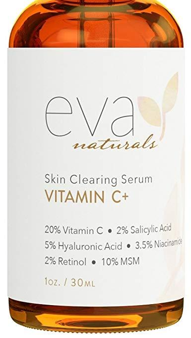 Eva Naturals Vitamin C Serum Plus 2% Retinol, 3.5% Niacinamide, 5% Hyaluronic Acid, 2% Salicylic Acid, 10% MSM, 20% Vitamin C - Skin Clearing Serum (1 oz)