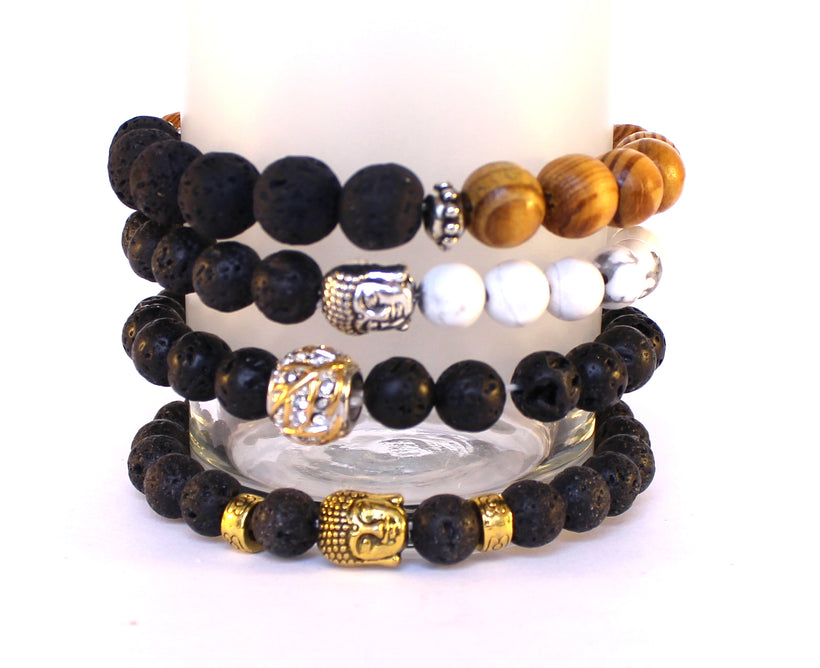 WELLNESS BRACELETS-GEMSTONE AND LAVASTONE
